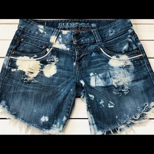 Guess destructed jean shorts